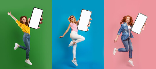 Creative collage with lovely young women jumping with empty smartphones on colorful studio backgrounds, mockup