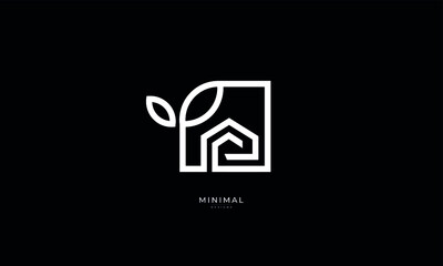 A line art icon logo of a house / home with a leaf circle