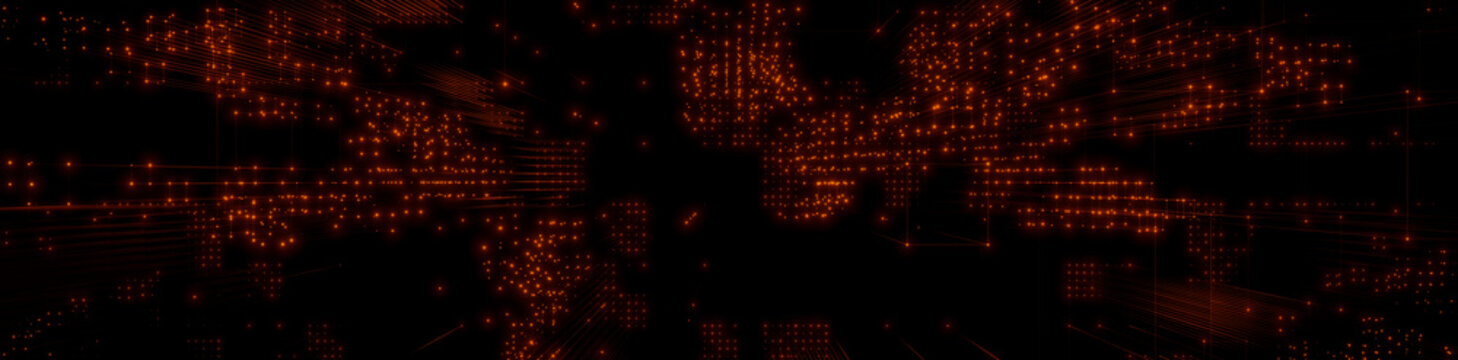 Futuristic, Orange Digital Grid background. Network Tech Wallpaper Banner. 3D Render