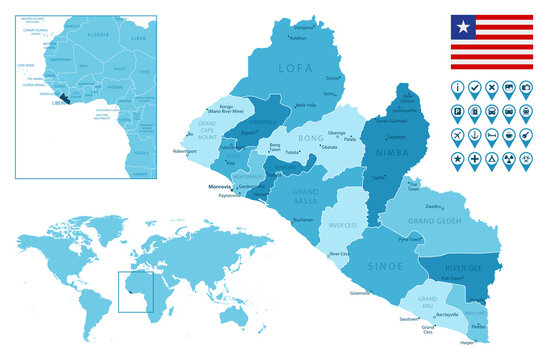 Liberia detailed administrative blue map with country flag and location on the world map.