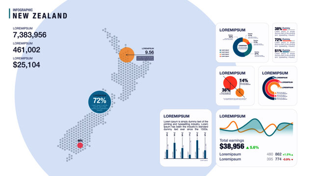 Detail infographic vector illustration. Map of New Zealand and Infographic elements - bar and line charts, percents, pie charts. Dashboard theme.