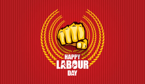 Happy labour day vector label with strong orange fist isolated on red horizontal background. vector happy labor day background or horizontal banner with man hand. red workers may day poster