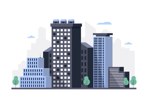 Urban landscape with high skyscrapers. Property owners. Vector illustration.