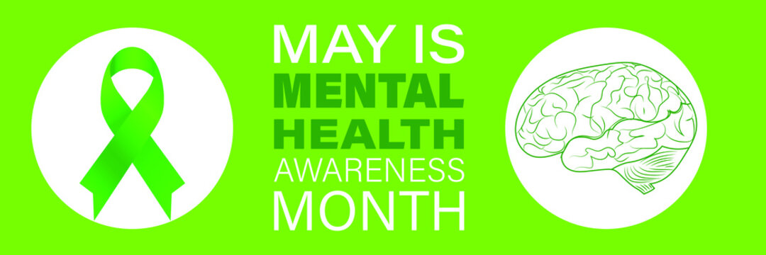 Medical health care design. Vector illustrationMental Health Awareness Month in May. Annual campaign in United States.