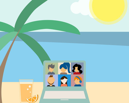 hybrid workplace with employees working from home or work from office or work from the beach or sea vector