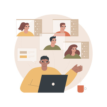 Webinar abstract concept vector illustration. Web seminars and webcasts, peer level meetings, online education, collaborative services, internet event, video call, writing notes abstract metaphor.