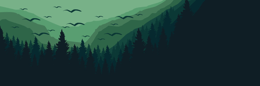 Forest mountain silhouette flat design vector illustration for background, banner, backdrop, tourism design, apps background and wallpaper