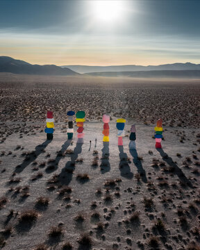 Seven Magic Mountains - 13 October 2020:  Aerial View of Desert art installation by Ugo Rondinone, standing tall at 35 feet in Las Vegas, USA