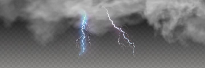 Fototapeta Vector realistic dark stormy sky with clouds, heavy rain and lightning strikes. obraz