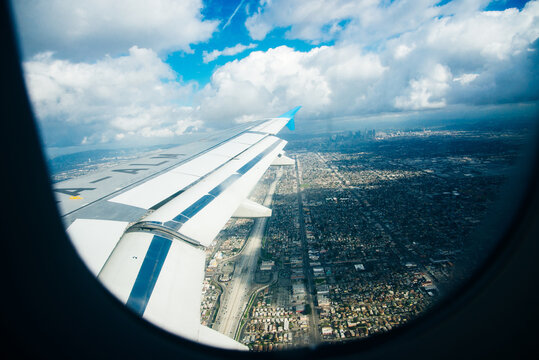 los angeles, september, 2019 Panoramic aerial view of LA, from the inside of a Skyup flight.