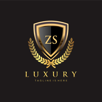 ZS Letter Initial with Royal Luxury Logo Template