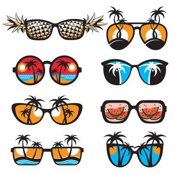 emblems collection of glasses with summer vacation landscapes isolated on white background