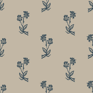 Handmade carved block print flower seamless pattern. Rustic heritage folk art background. Scandi or ethnic indian design. Naive neutral tone all over texture.