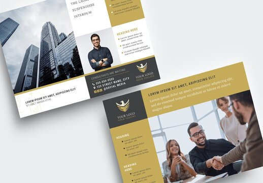 Business Poster Flyer Banner  for Investment Consultants with Elegant Black and Gold theme