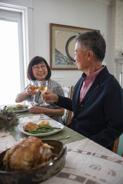 Senior couple toasting wine at lunchtime