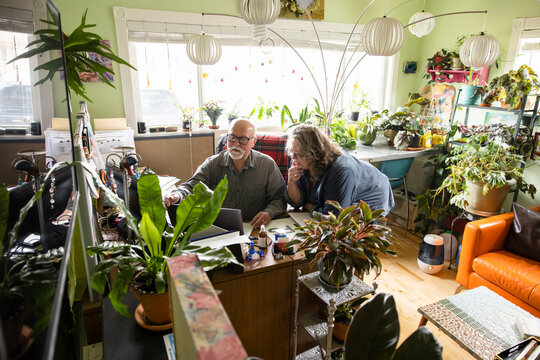 Senior couple using laptop in home office