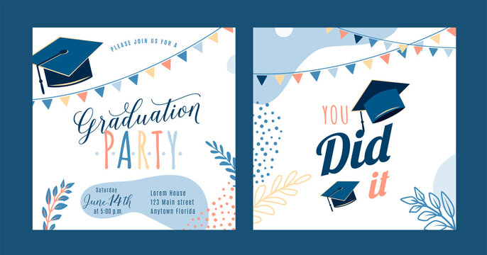 Graduation party vector background, light invite card template. You did it text quote. Graduate design with cap, flags, plants, dots, organic shapes. Modern art minimalist style. Back and front side