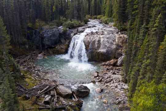 Scenic view of waterfall,  British Columbia,  Canada