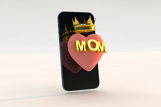 Queen mom concept, digital happy mother's day with smartphone, pink heart and gold text . 3d render