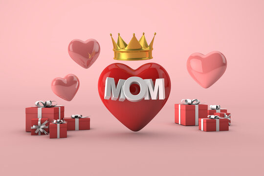 Mom is a queen, happy mother's day concept with red heart, gift boxes and gold crown. 3D Render