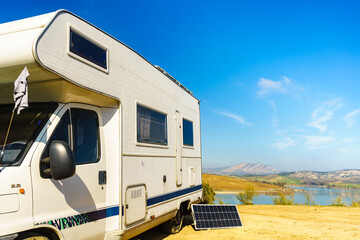 Obraz Solar photovoltaic panel at caravan - fototapety do salonu