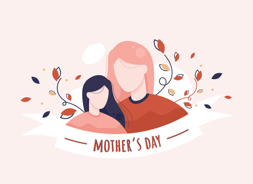 Happy mother's day vector illustration with mom and daughter in flat design. Pink and red. Eps 10