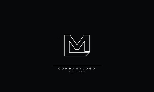 lm l and m Abstract initial monogram letter alphabet logo design