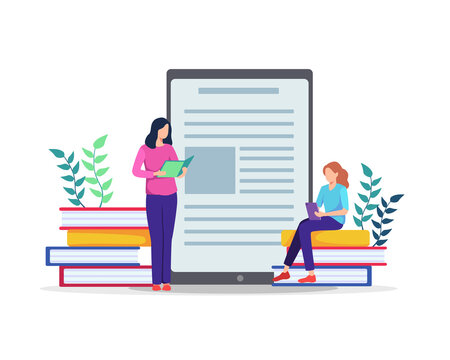 Student learning online. People sitting on large books, Working on test, Writing, Reading books. E-learning concept, Watching online courses on tablet, Training, Studying at home. Vector in flat style