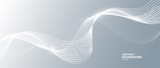 Obraz Gray and white abstract background with flowing particles. Digital future technology concept. vector illustration.  - fototapety do salonu