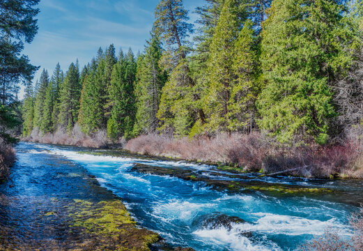 View of the Metolius River from the bridge to Wizard Falls Fish Hatchery near Camp Sherman Oregon
