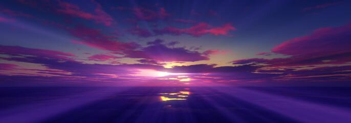 sunset calmly sea sun ray 3d render