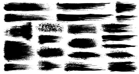 Fototapeta  set of grunge artistic brush strokes, brushes. Creative design elements. Grunge watercolor wide brush strokes. Black collection isolated on white background