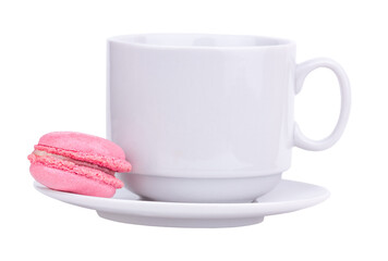 pink macaroon on a cup isolated on white background