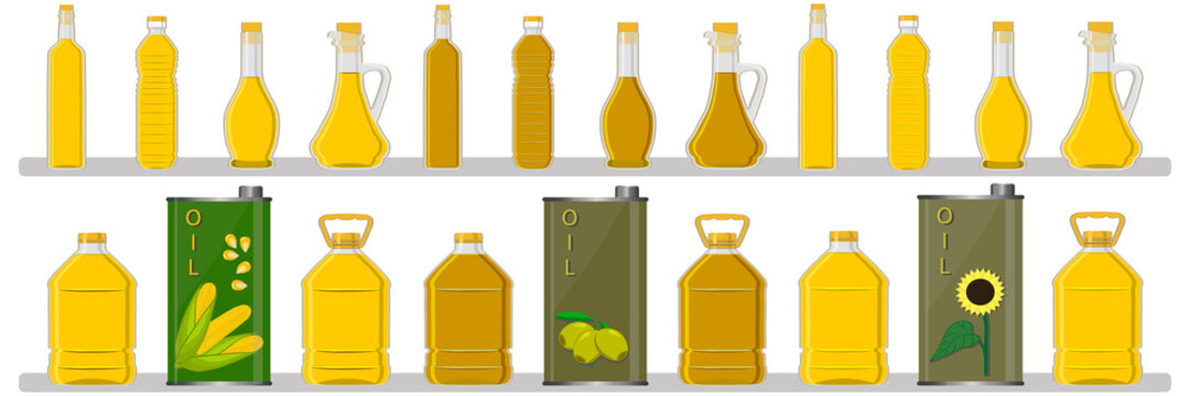 Illustration on theme big kit oil in different glass bottles for cooking food