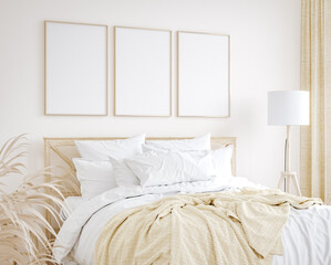 Wall Murals Mockup frame in farmhouse style bedroom interior background, 3d render
