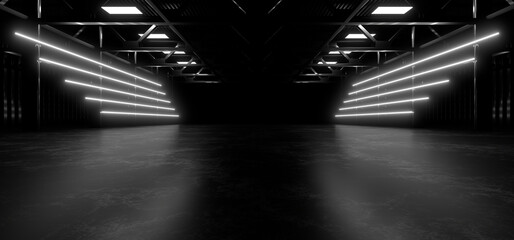Fototapeta A dark hall lit by white neon lights. Reflections on the floor and walls. 3d rendering image.