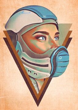 comic woman in a sci fi outfit doing id profile  vintage poster background