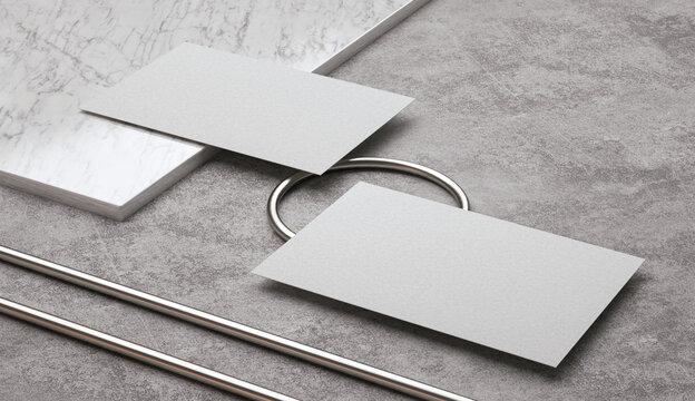 3D Illustration. Blank white business cards mockups. Elegant modern template for branding identity.