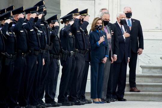 Slain U.S. Capitol Police officer William Evans is honored at the U.S. Capitol in Washington