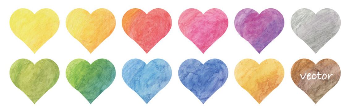 Vector watercolor heart painting frame set