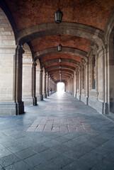 Fototapeta Corridors with columns in historic building,  Historic Center of Mexico City