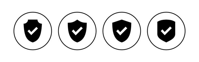 Fototapeta Shield check mark  icon set. Protection approve sign. Safe icon vector