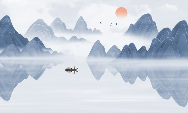 Chinese style blue mood landscape painting