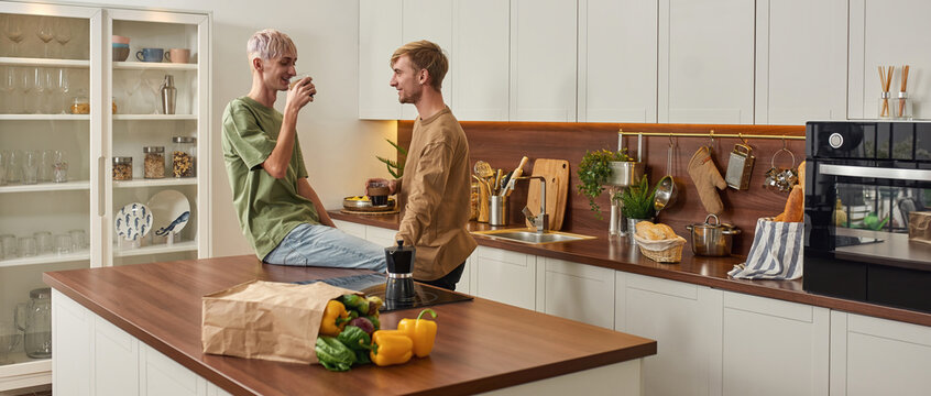 Tender young caucasian gay couple talking in kitchen