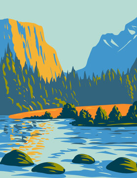 WPA Poster Art of the Voyageurs National Park located in northern Minnesota near the Canadian border done in works project administration style or federal art project style.