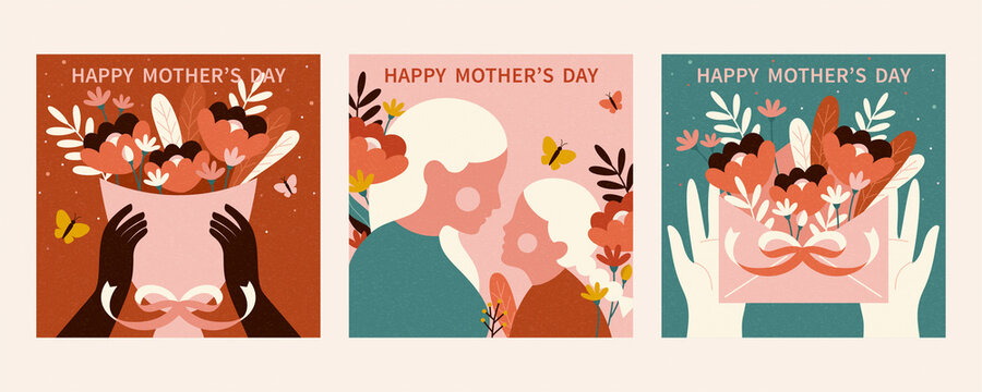 Retro Mother's Day card template
