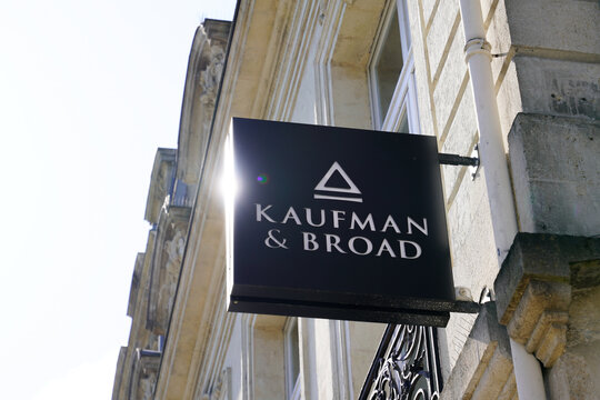 Kaufman & Broad office sign logo and brand text of American homebuilding company KB Home homebuilder