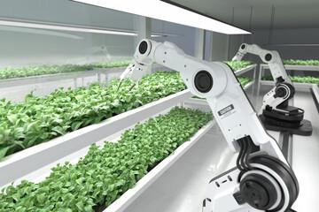 Obraz Smart robotic farmers concept, robot farmers, Agriculture technology, Farm automation. - fototapety do salonu