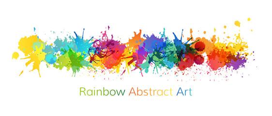 Fototapeta Rainbow abstract creative banner from paint splashes. obraz