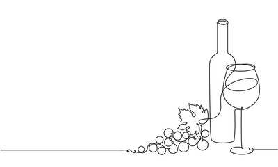 Fototapeta Wine glass, a bottle of wine and grapes. Still life. Sketch. Draw a continuous line. Decor obraz
